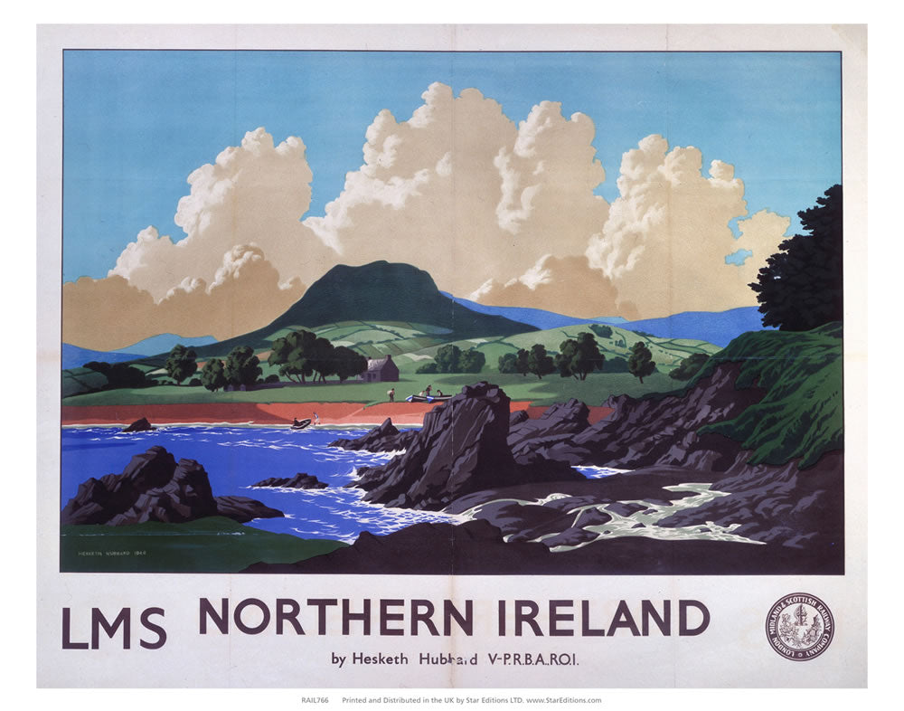 "Northern Ireland - LMS Cloudy sky over the hills 24"" x 32"" Matte Mounted Print"