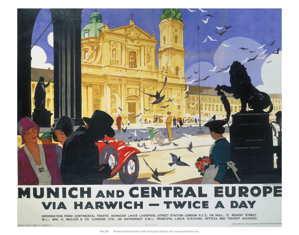"Munich and Central Europe via Harwich 24"" x 32"" Matte Mounted Print"