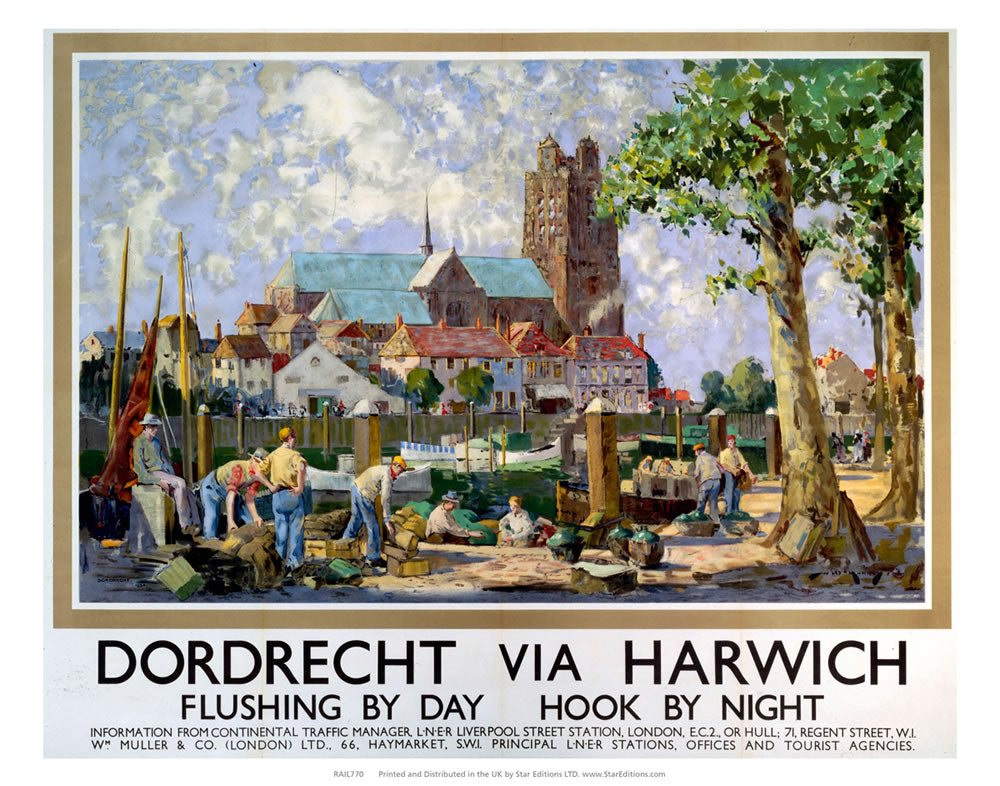 "Dordrect Via Harwich - Busy Harbour church in the background 24"" x 32"" Matte Mounted Print"