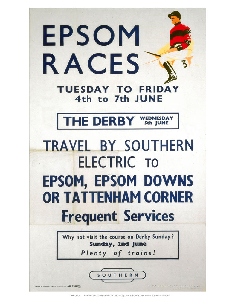 "Epson Races - Travel By Southern Electric 1 jockey 24"" x 32"" Matte Mounted Print"