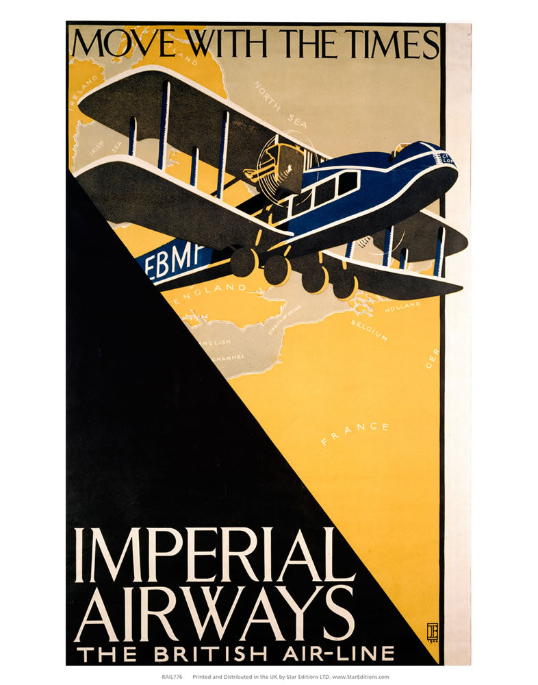 "Imperial Airways - the British Air-line - Blue EBMP aircraft 24"" x 32"" Matte Mounted Print"