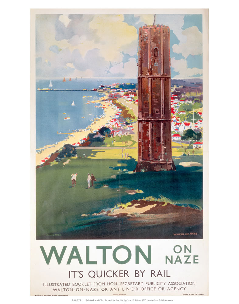 "Walton-on-naze Quicker by Rail - Beach side tower 24"" x 32"" Matte Mounted Print"