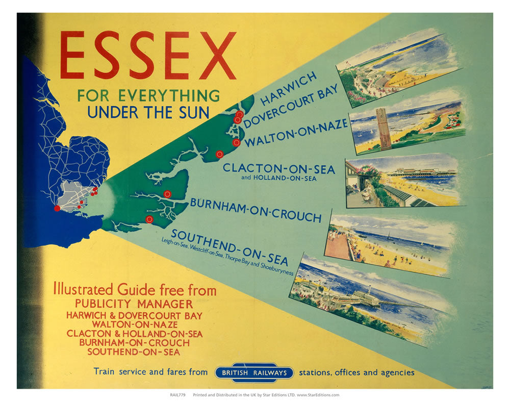 "Essex for everything under the sun - Yellow and green British Railways poster 24"" x 32"" Matte Mounted Print"