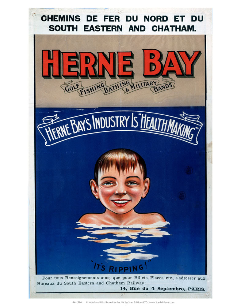 "Herne Bay - Golf fishing bathing and military bands 24"" x 32"" Matte Mounted Print"