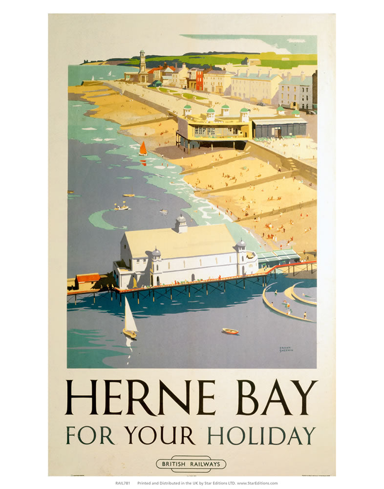 "Herne Bay for your holiday - Herne bay pier and beach 24"" x 32"" Matte Mounted Print"