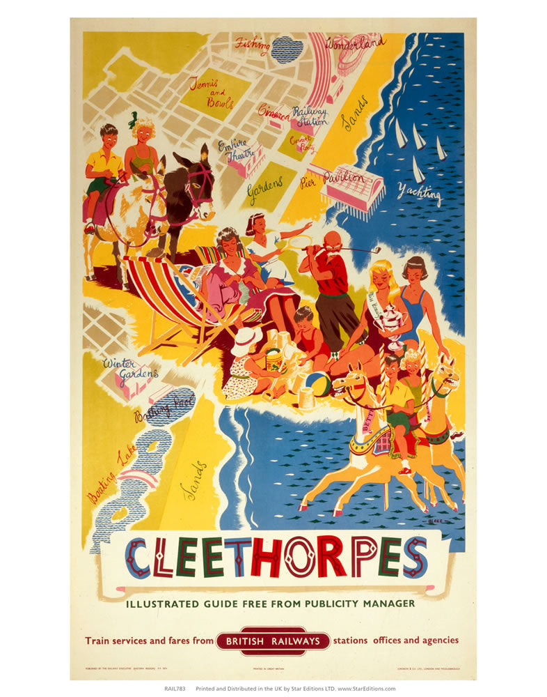 "Cleethorpes - Beach map British Railway 24"" x 32"" Matte Mounted Print"