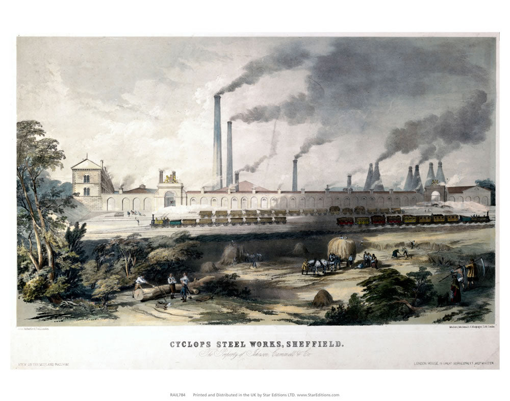 "Cyclops Steel works sheffield - Steel works train yard 24"" x 32"" Matte Mounted Print"