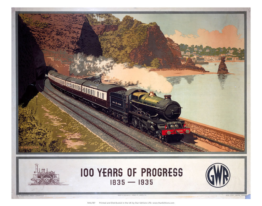 "100 Years of progress - Steam train along the coast GWR 24"" x 32"" Matte Mounted Print"