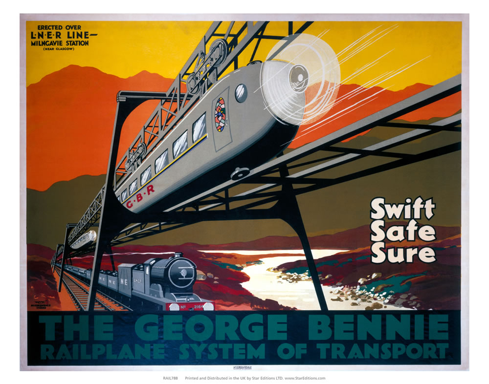 "George bennie Railplane System - Swift safe and sure 24"" x 32"" Matte Mounted Print"