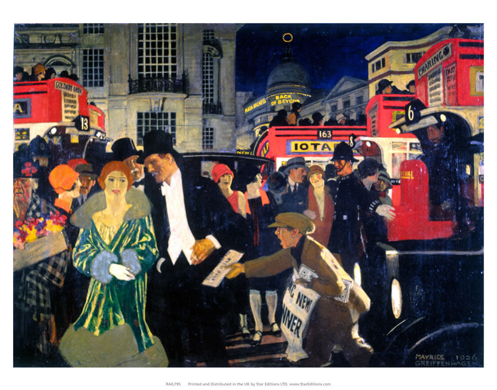 "Central London busy - Paper boy andPolice 24"" x 32"" Matte Mounted Print"