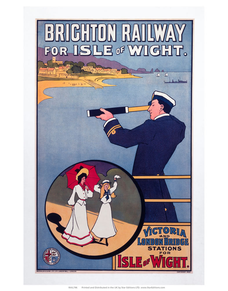 "Brighton railway for Isle of wight - Sailor Telescope 24"" x 32"" Matte Mounted Print"