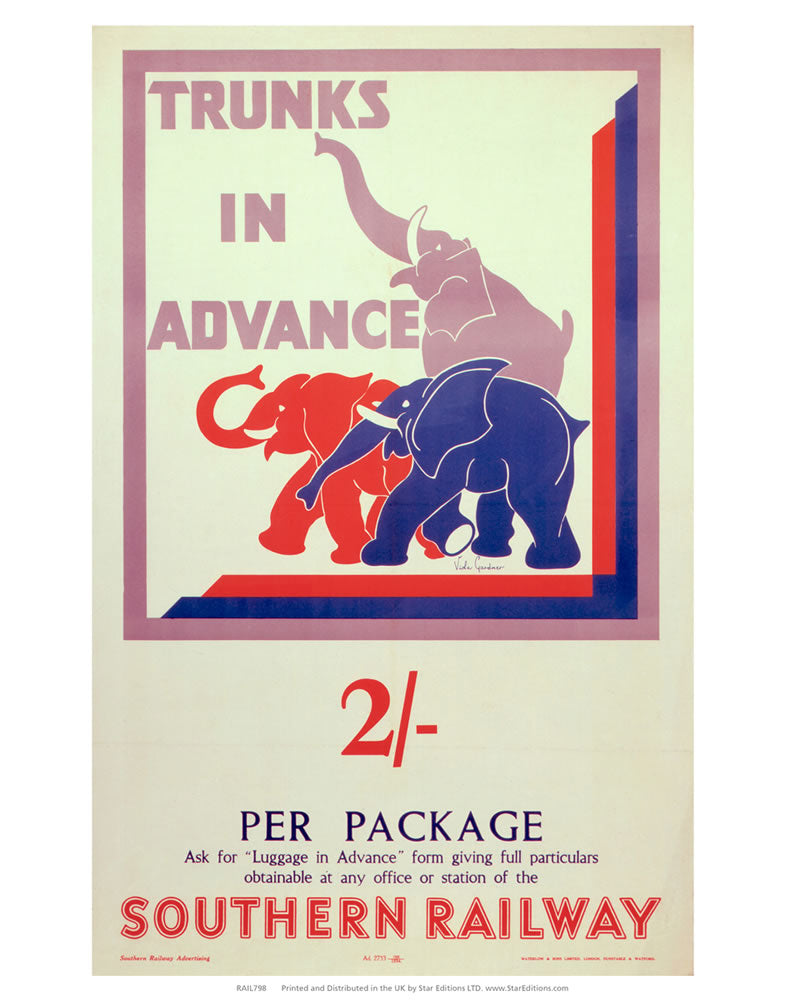 "Trunks in advance - 3 Elephants Southern Railway 24"" x 32"" Matte Mounted Print"
