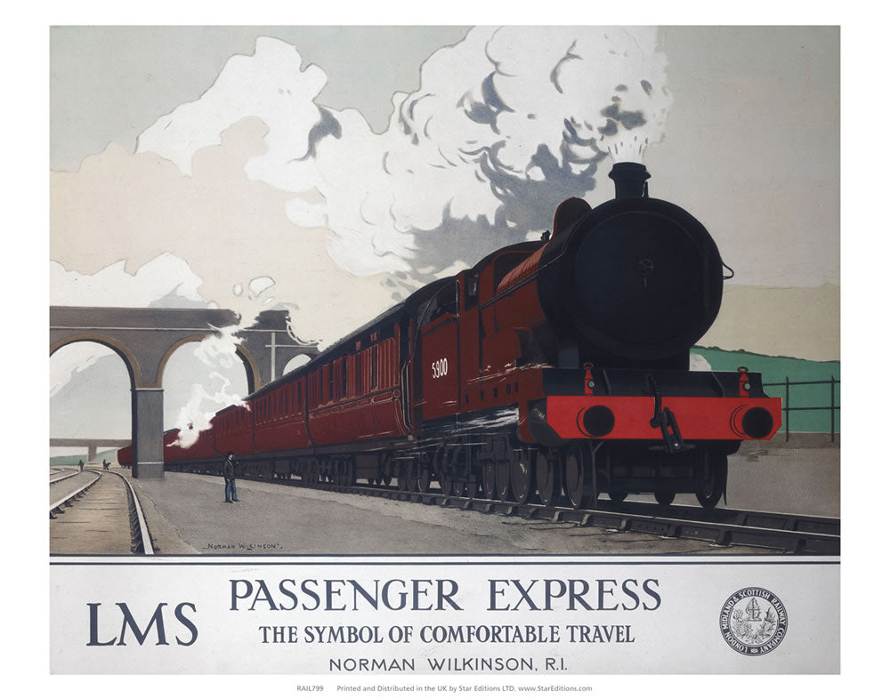 "LMS Passenger Express - The Symbol of Comfortable travel 24"" x 32"" Matte Mounted Print"