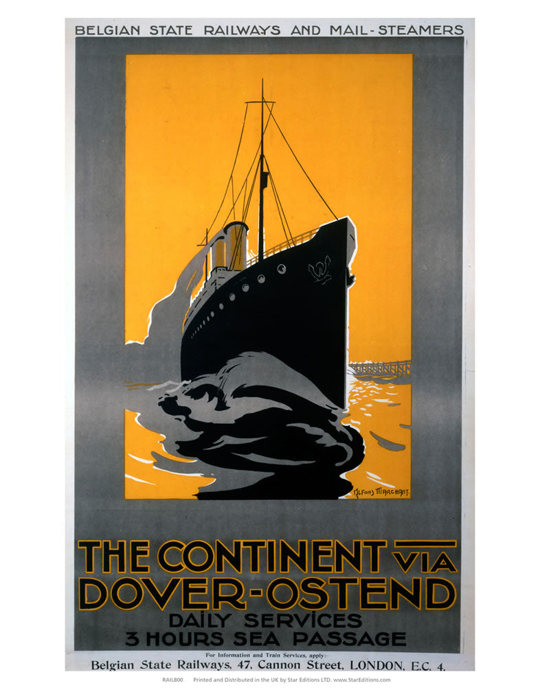 "The Continent Via Dover-Ostend - 3 Hour Sea Passage 24"" x 32"" Matte Mounted Print"