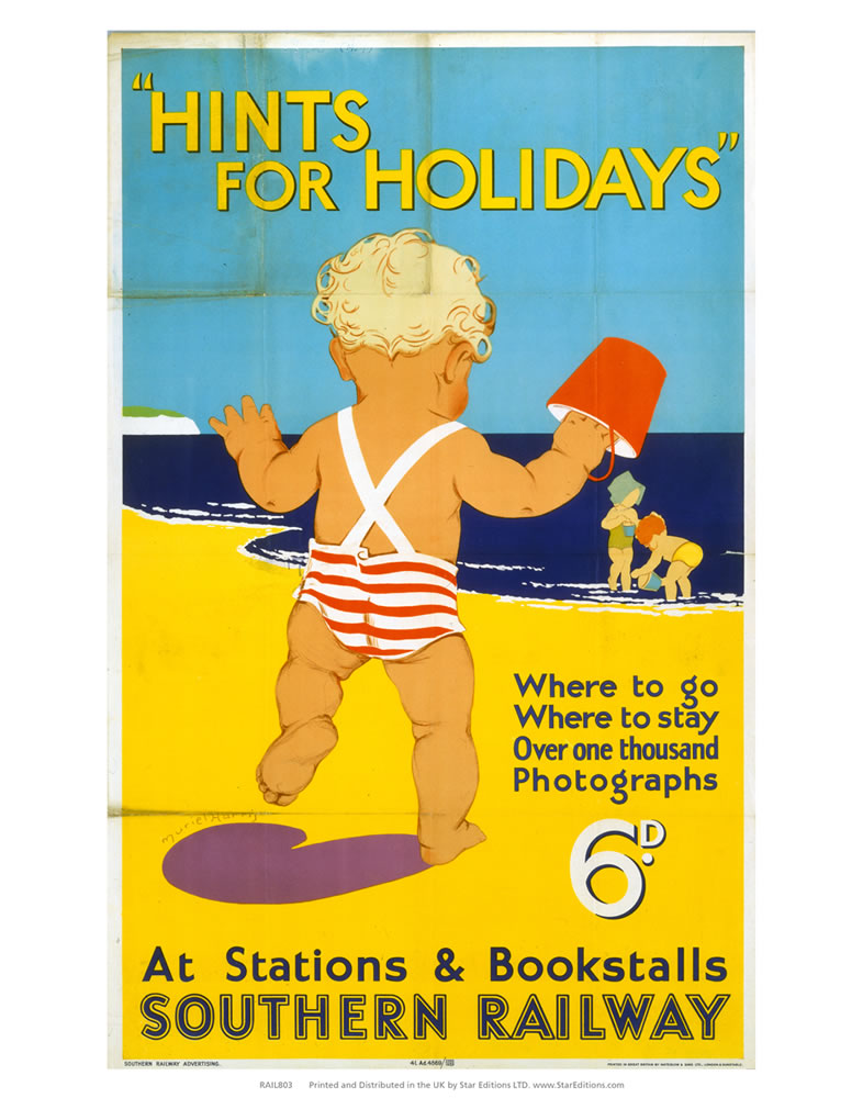 "Hints for Holidays by Southern Rail - Toddler on beach 24"" x 32"" Matte Mounted Print"