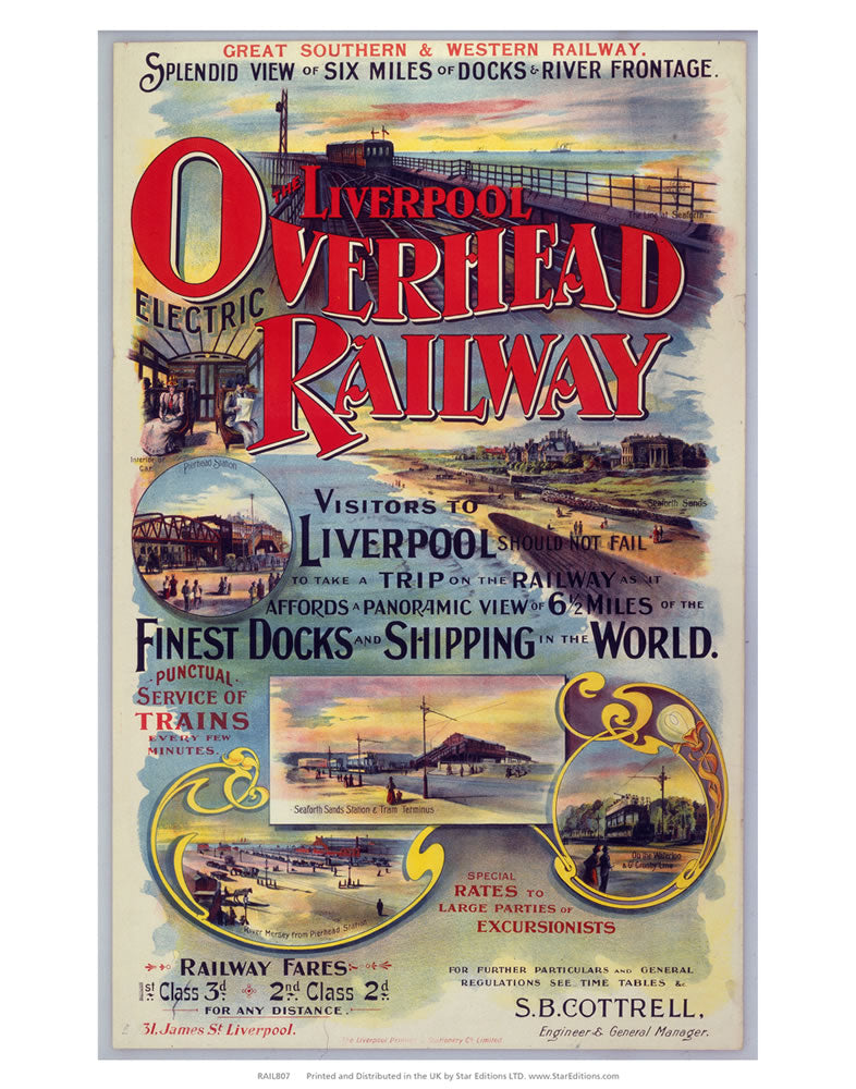 "Liverpool overhead railway - Finest dock and shipping in the world 24"" x 32"" Matte Mounted Print"