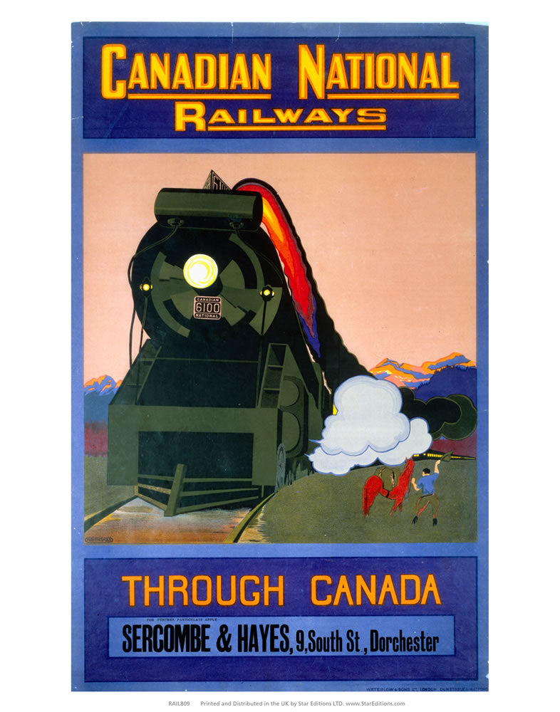 "Canadian National Railways - Through canada Sercombe and Hayes 24"" x 32"" Matte Mounted Print"