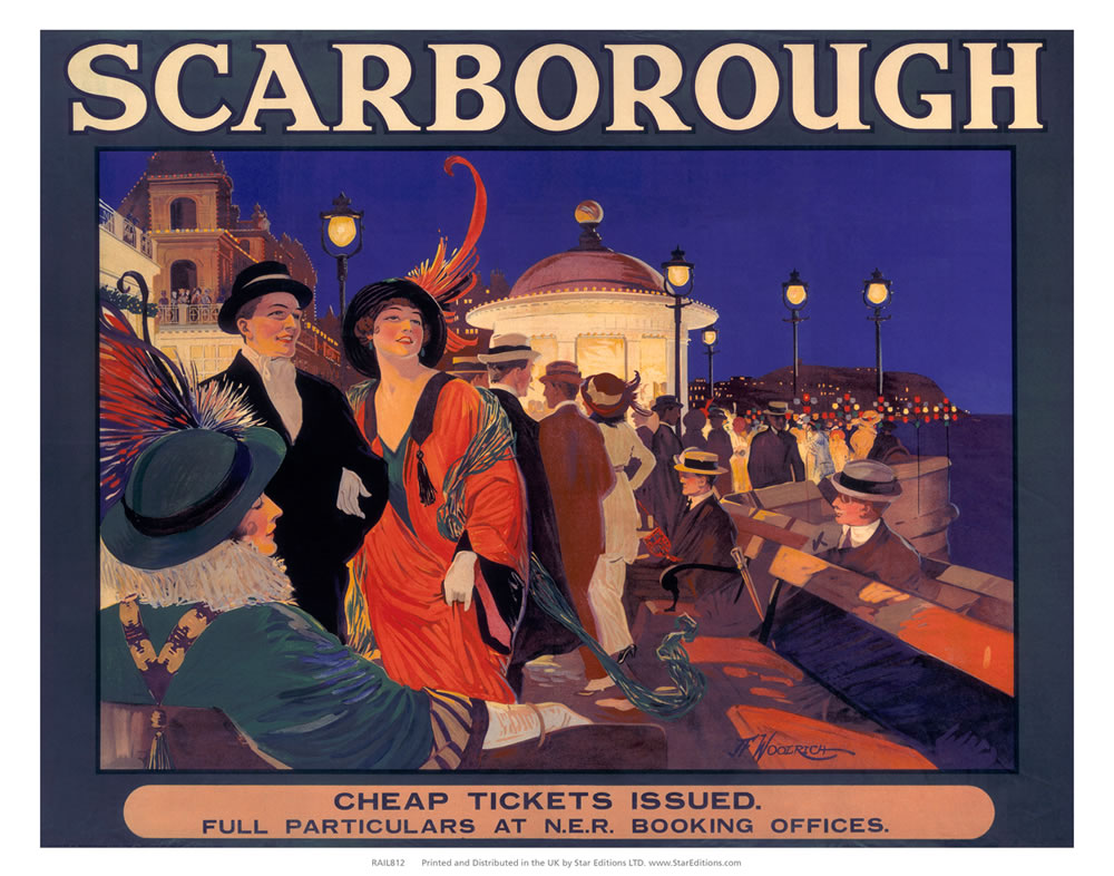 "Scarborough Cheap Tickets - Nightlife at the seafront 24"" x 32"" Matte Mounted Print"