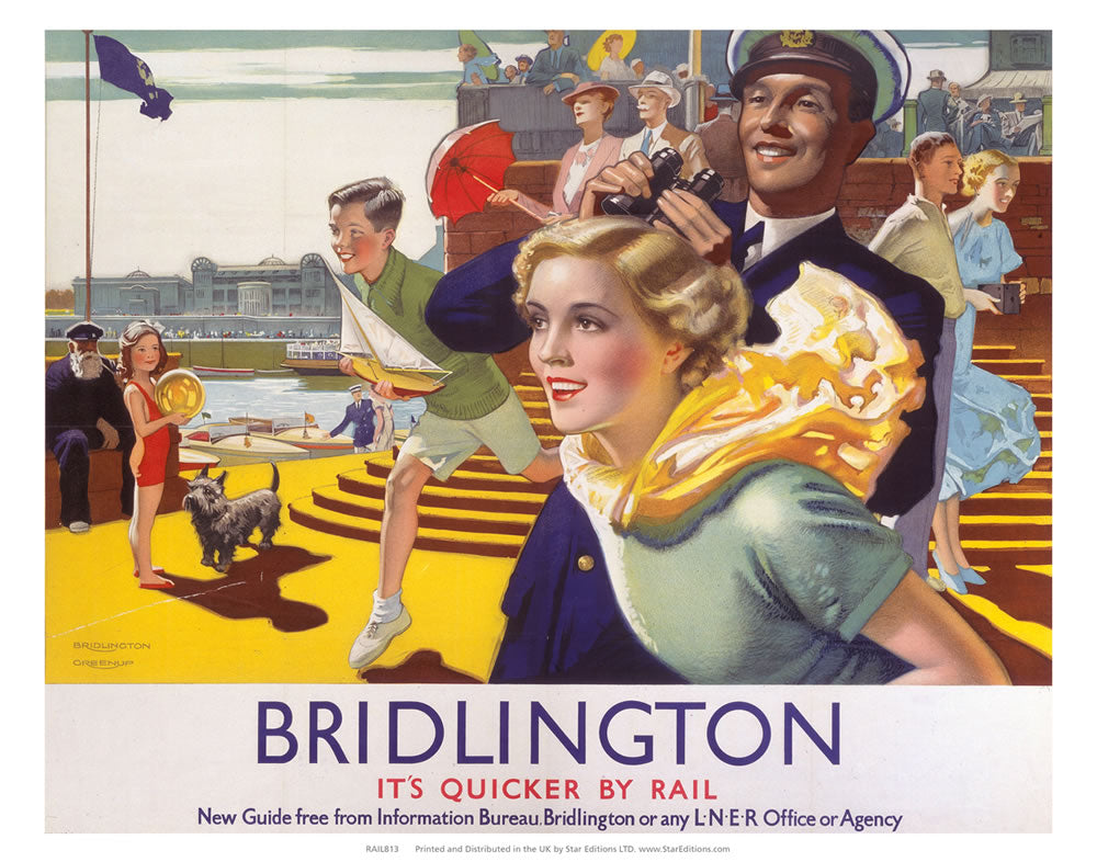 "Bridlington Quicker by Rail - seaside fun 24"" x 32"" Matte Mounted Print"