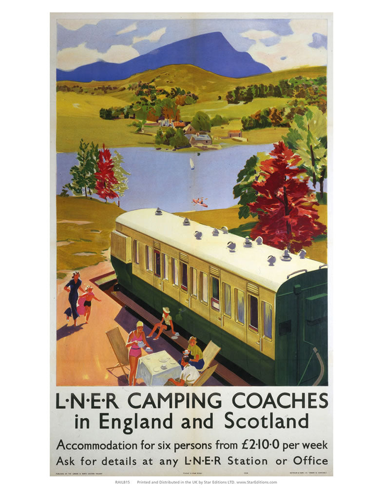 "Camping Coaches in England and Scotland - Lakeside Train carriage 24"" x 32"" Matte Mounted Print"