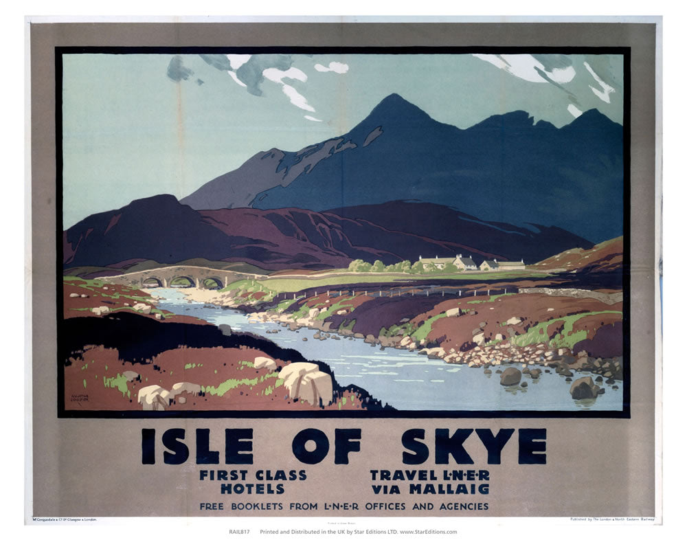"First Class hotels Isle of Skye - LNER by Mallaig 24"" x 32"" Matte Mounted Print"