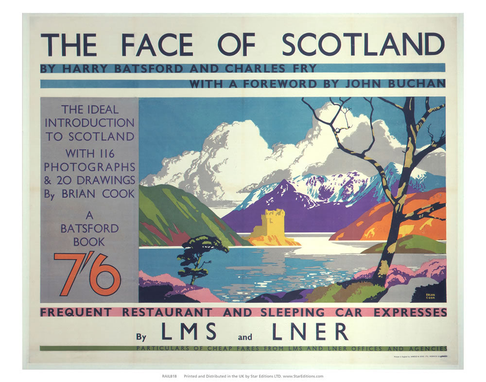 "The face Of Scotland - Restaurant and Sleeping car Express 24"" x 32"" Matte Mounted Print"