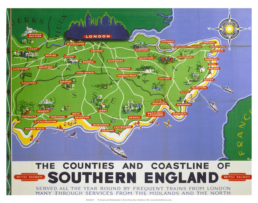 "Counties and coastline of southern england map British railways 24"" x 32"" Matte Mounted Print"