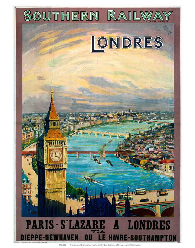 "Southern Rail - Londres Paris to St Lazare big ben 24"" x 32"" Matte Mounted Print"