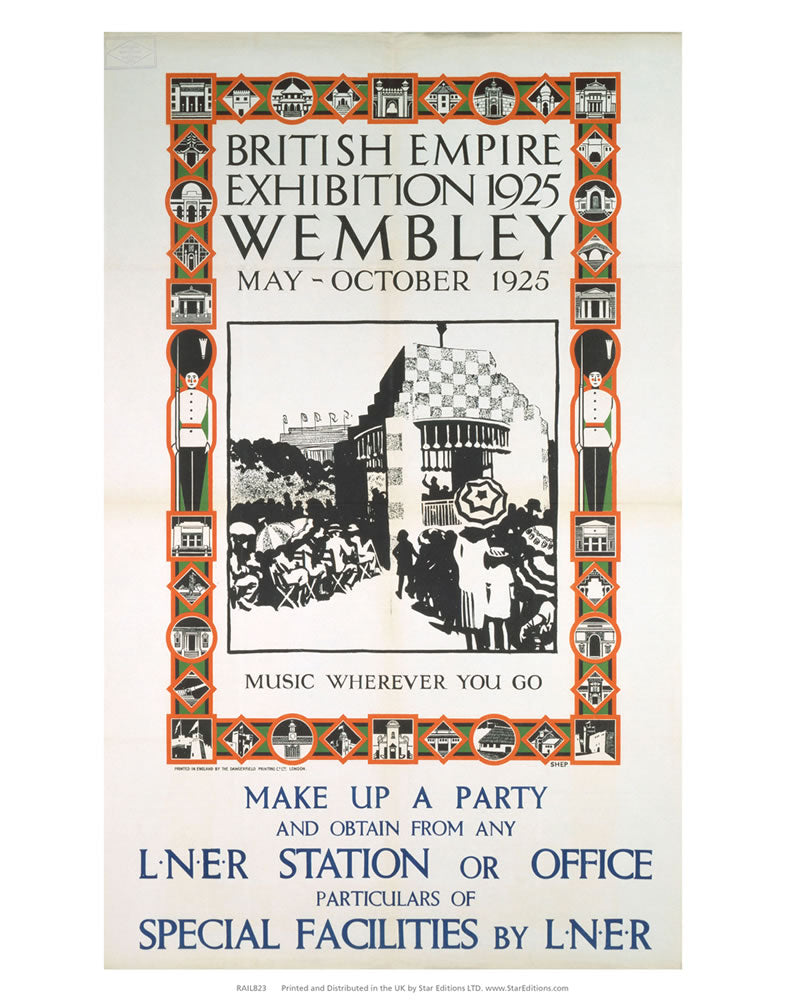 "British Empire Exhibition 1925 Wembley - Music wherever you go 24"" x 32"" Matte Mounted Print"