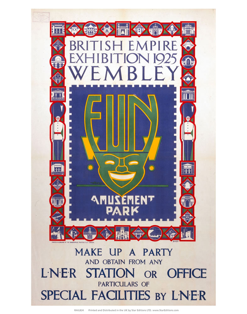 "British Empire Exhibition - Fun Amusement Park 24"" x 32"" Matte Mounted Print"
