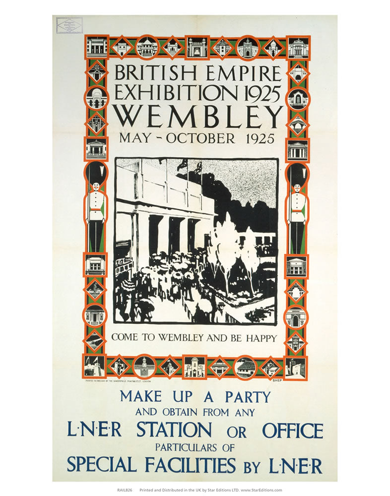 "British Empire Exhibition - Come to Wembley and be happy 24"" x 32"" Matte Mounted Print"