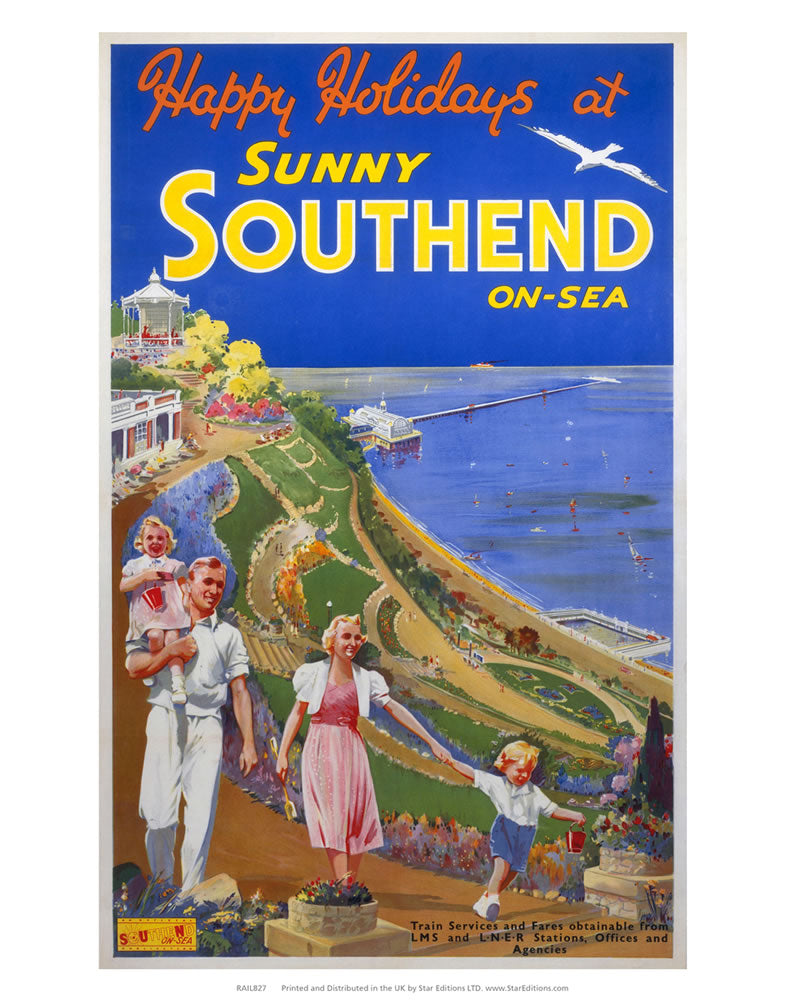"Happy Holidays at sunny Southend-on-sea - family at the gardens 24"" x 32"" Matte Mounted Print"