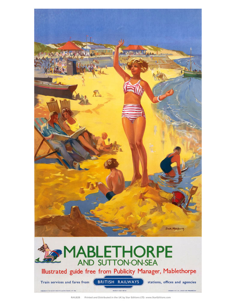 "Mablethorpe and sutton-on-sea - Girl on the Beach 24"" x 32"" Matte Mounted Print"