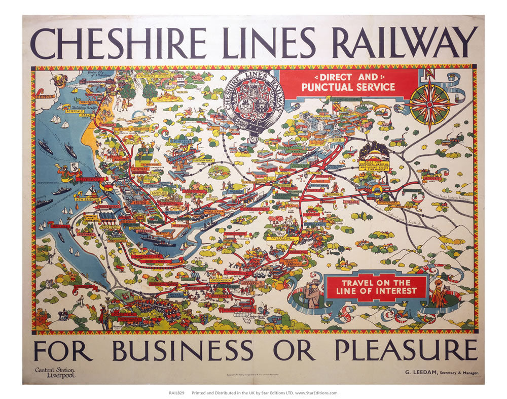 "Cheshire Lines railway map - the Line of Interest 24"" x 32"" Matte Mounted Print"