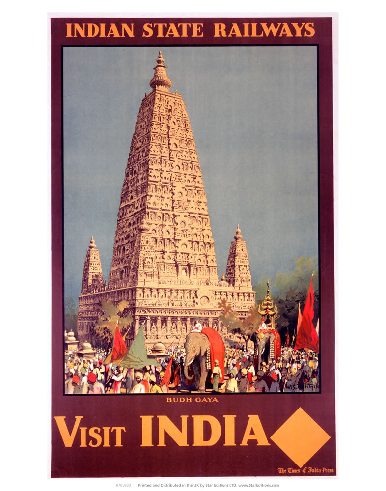 "Visit India - Budh gaya Indian State Railways 24"" x 32"" Matte Mounted Print"