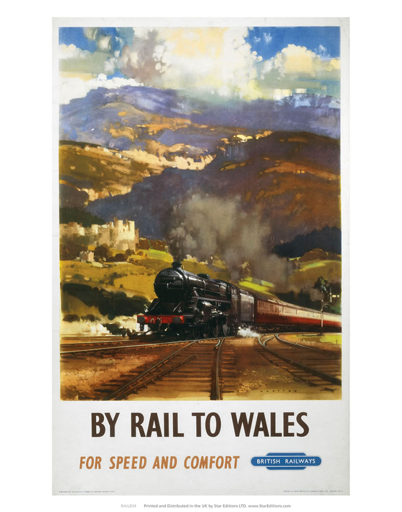 "By Rail to Wales for speed and comfort - British Railways 24"" x 32"" Matte Mounted Print"