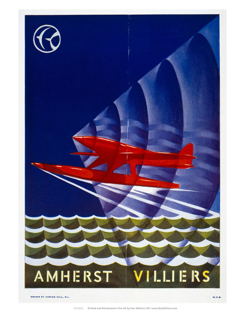 "Amherst Villers - Red Plane 24"" x 32"" Matte Mounted Print"