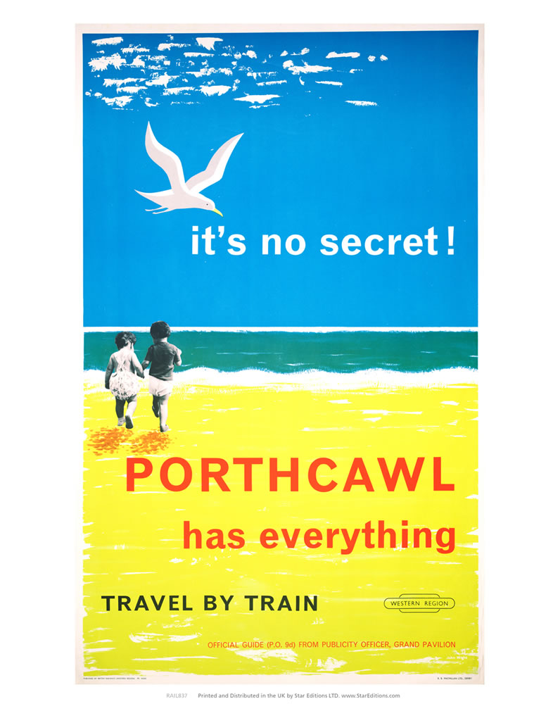 "Porthcawl has everything - Its no secret travel by train 24"" x 32"" Matte Mounted Print"