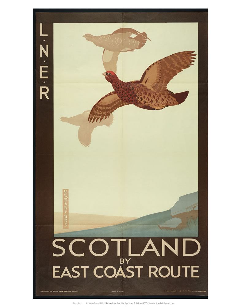 "LNER Scotland by East coast route - Grouse 24"" x 32"" Matte Mounted Print"