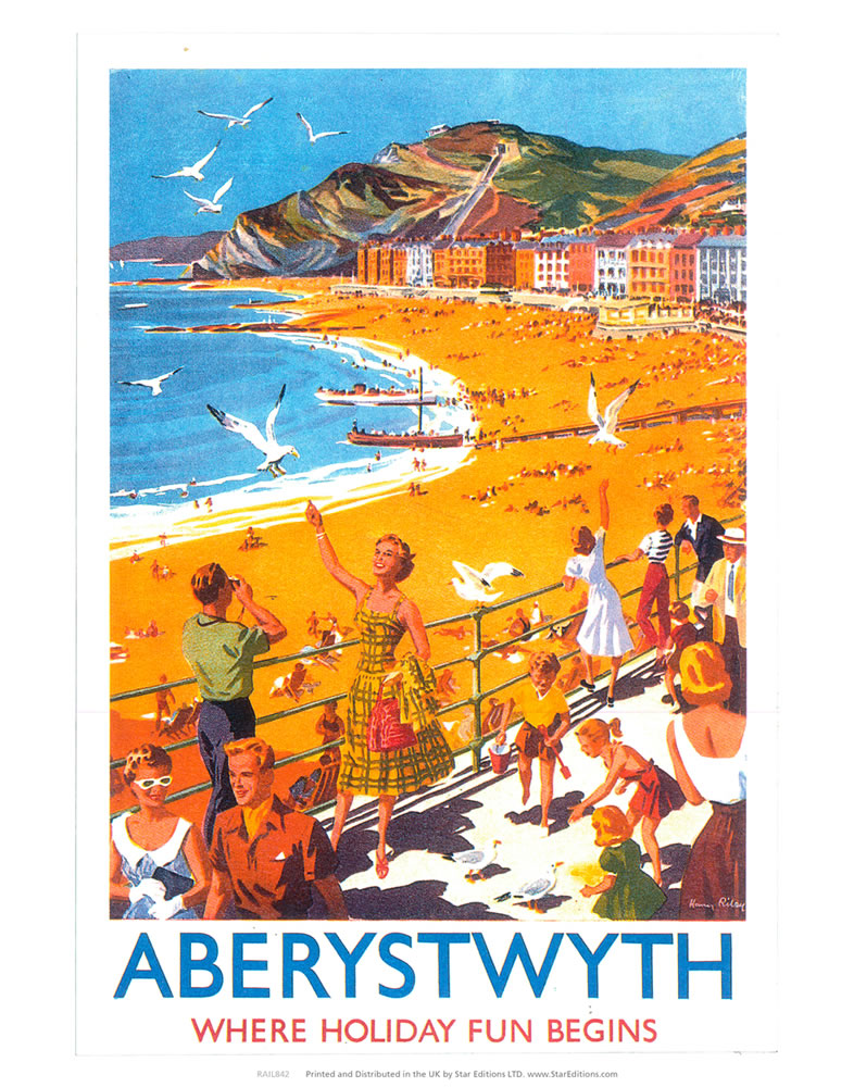 "Aberystwyth - Beach Where Holiday Fun Begins 24"" x 32"" Matte Mounted Print"