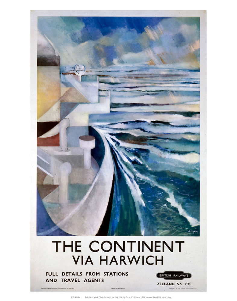 "The Continent - Via Harwich Ship painting British Railways 24"" x 32"" Matte Mounted Print"