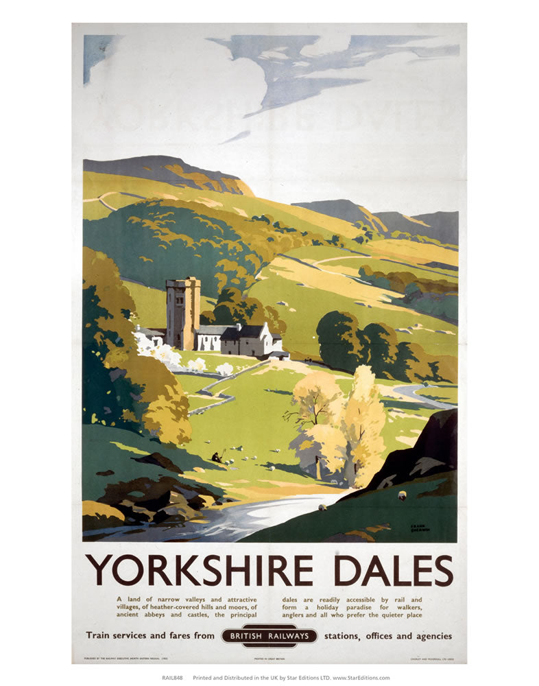 "Yorkshire Dales - British Railways Hillside painting 24"" x 32"" Matte Mounted Print"
