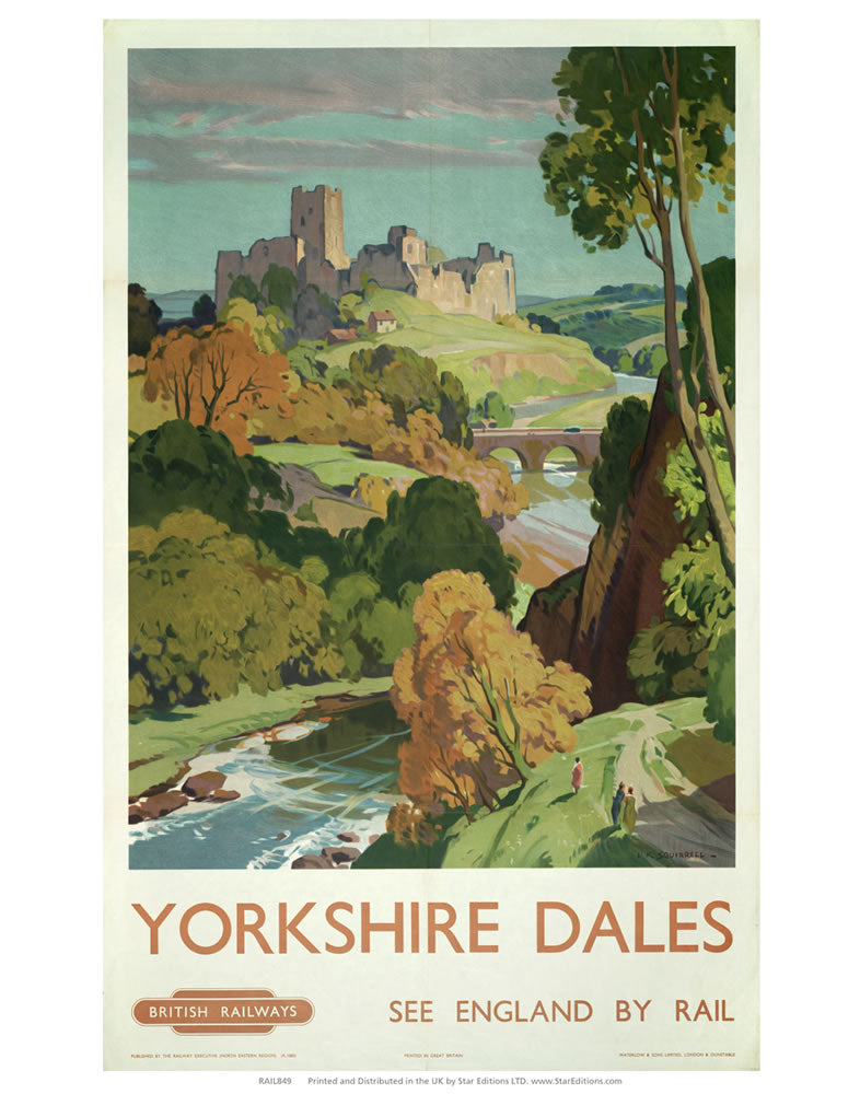 "Yorkshire Dales - See england by Rail hilltop castle painting 24"" x 32"" Matte Mounted Print"