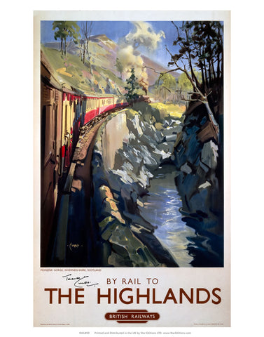 "By Rail to the Highlands - British railways train painting 24"" x 32"" Matte Mounted Print"