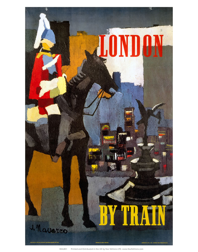 "London by train - Royal horseback guard abstract 24"" x 32"" Matte Mounted Print"