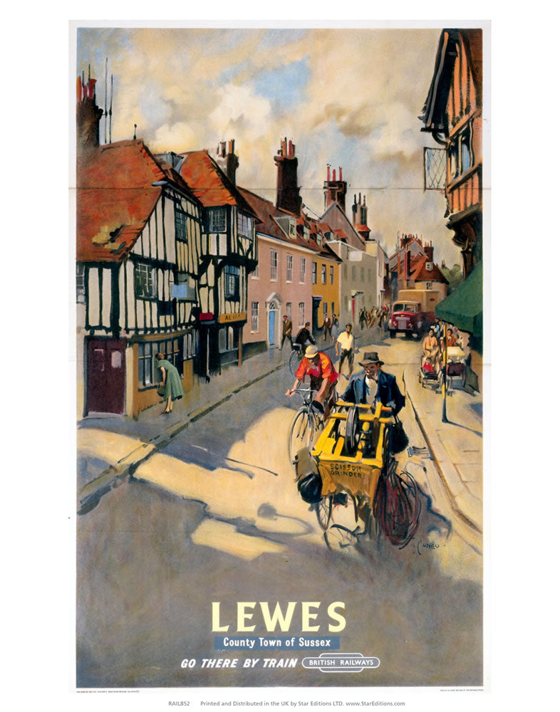 "Lewes county of sussex - Go there by train british railways 24"" x 32"" Matte Mounted Print"