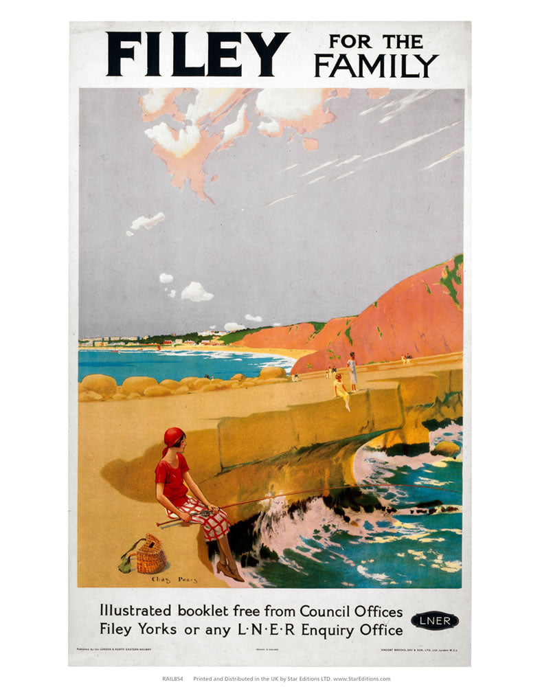 "Filey for the family - LNER Beach poster 24"" x 32"" Matte Mounted Print"