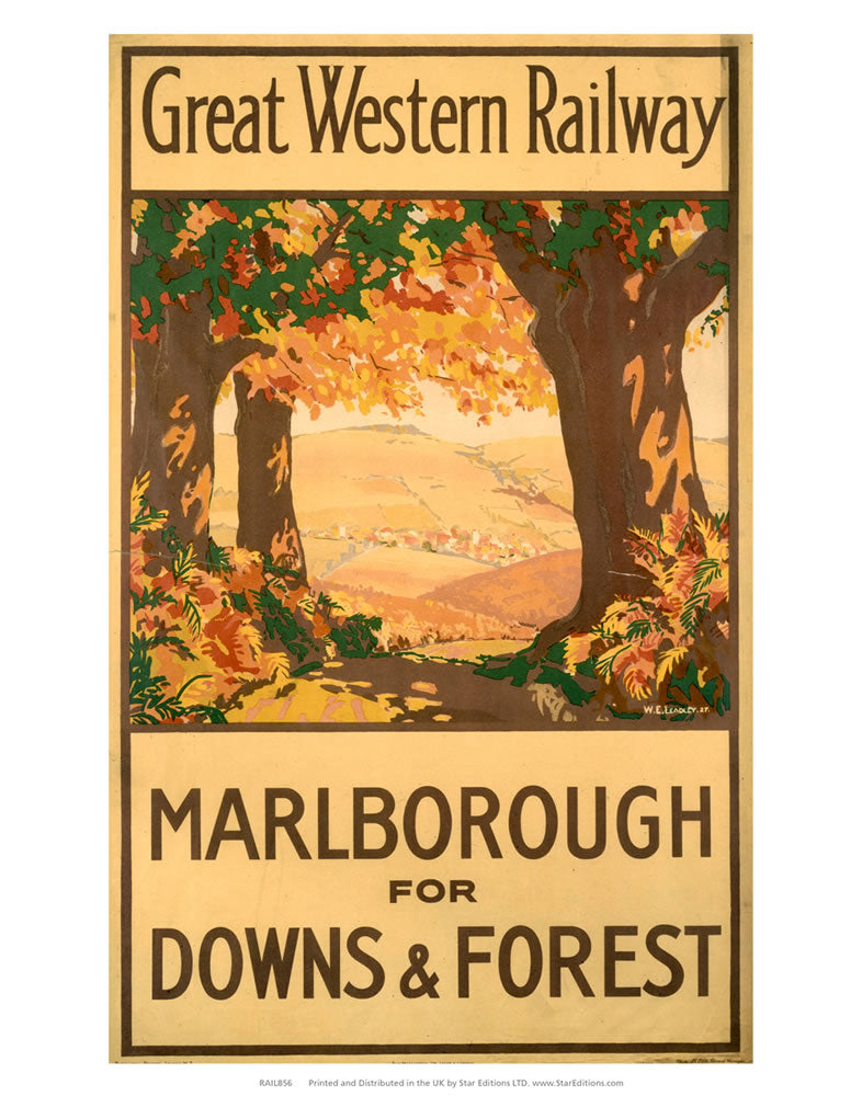 "Marlborough for downs and forest - GWR Poster 24"" x 32"" Matte Mounted Print"