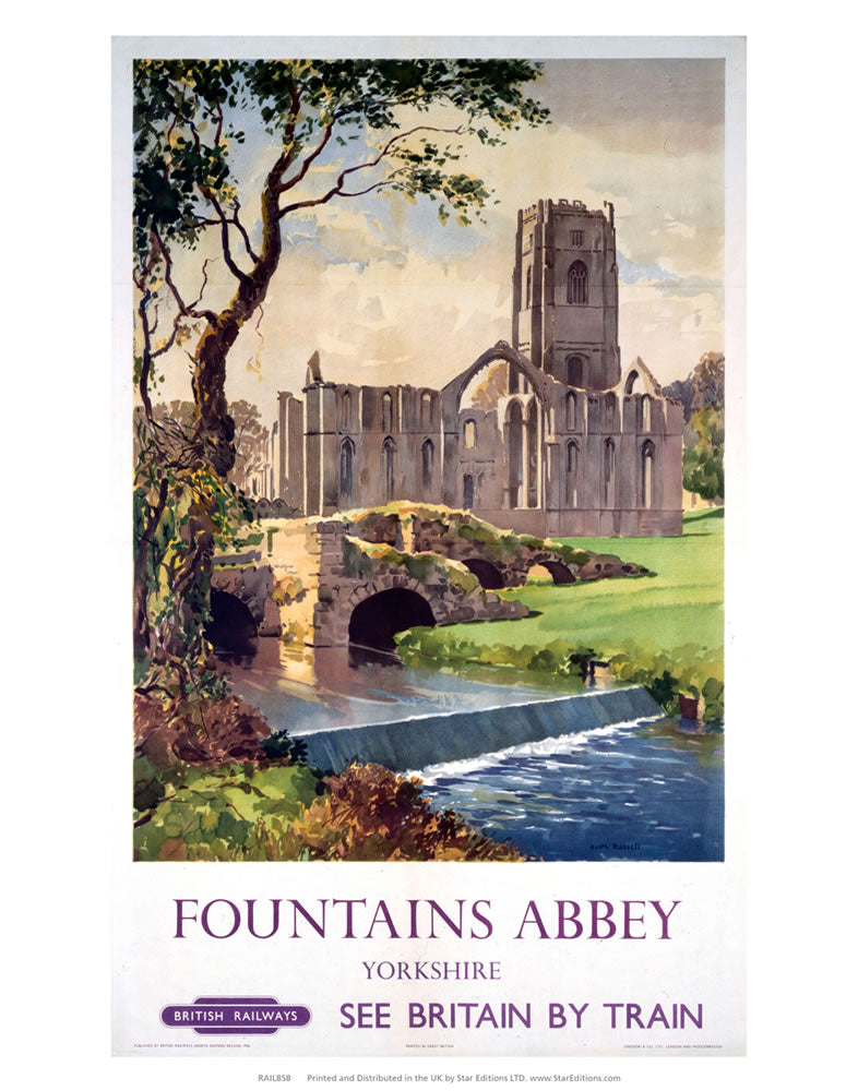 "Fountains abbey Yorkshire - See Britain by train British Railways 24"" x 32"" Matte Mounted Print"