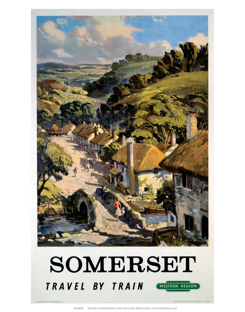 "Somerset - Travel by Train British Railways 24"" x 32"" Matte Mounted Print"